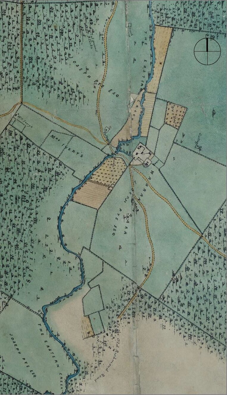 Detail from 'Plan of Part of the Windsor District', drawn by Surveyor J Musgrave in 1842. (Source: SLNSW)