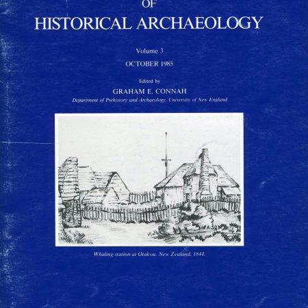 Cover of Australasian Historical Archaeology volume 3 (1985))