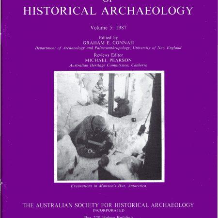 Cover of Australasian Historical Archaeology volume 5 (1987)