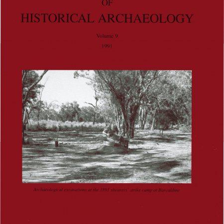 Cover of Australasian Historical Archaeology volume 9 (1990)