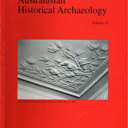 Cover of Australasian Historical Archaeology volume 11 (1992)