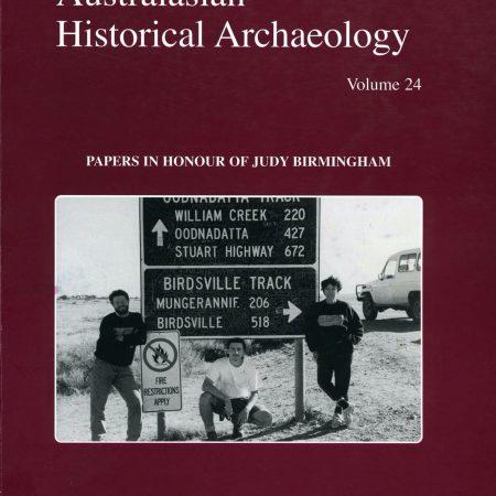 Cover of Australasian Historical Archaeology volume 24 (2006)